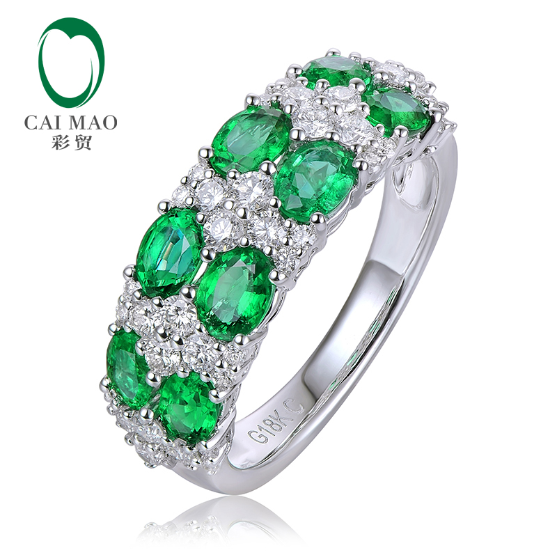 1.42ctw 3X4mm Natural Emerald And 0.63ct Diamond 14K White Gold Engagement Wedding Band ...