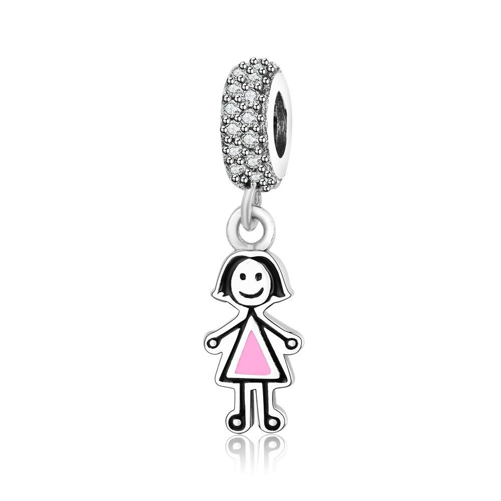 2018 New 100% 925 Sterling Silver Couple Little Girl & Boy Pendant Charm Beads Fits Original Pandora Charm Bracelet DIY Jewelry