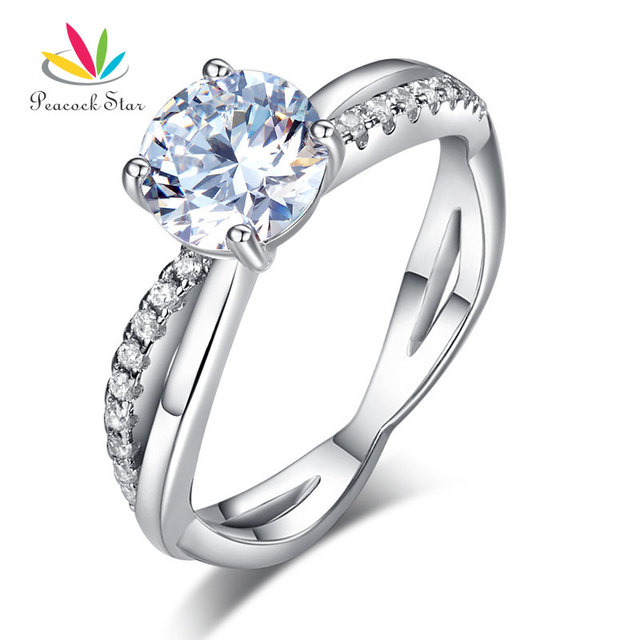 Peacock Star 925 Sterling Silver Wedding Promise Anniversary Ring 1.25  Ct Created Diamond CFR8249