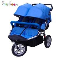 2019 Three Wheels Twins Baby Stroller Babyboom Stroller Off road Light Sport baby carriage double kids Shockproof BB Pram