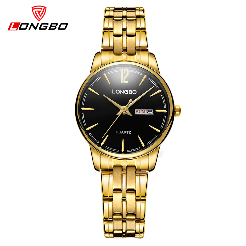 LONGBO Luxury Brand Gold Quartz Watch Wome Stainless Steel Waterproof Ladies Watches Reloj Mujer Simple Relogio Feminino 5089 megir brand luxury simple women watches stainless steel watch women quartz ladies wrist watch gold relogio feminino reloj mujer