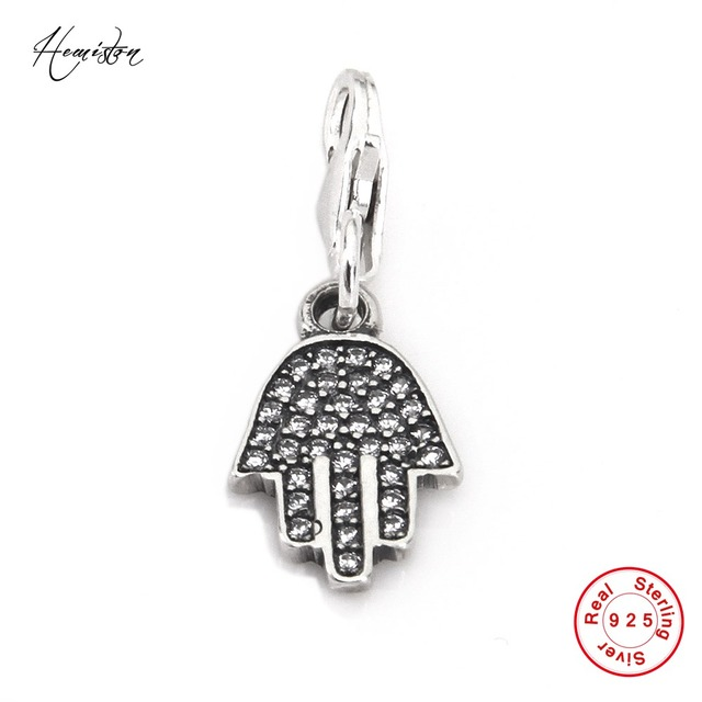 US $10 55 |Hemiston Thomas Vintage Hamasa Hand of Fatima 925 Sterling  Silver Charm Against Evil Jewelry for Women and Men Gift TS 80-in Charms  from