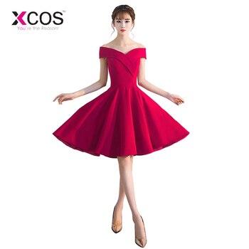 cb4b99c3fa4ae Yeni Mezuniyet Elbiseleri 2019 Kırmızı Saten Kapalı Omuz Kısa Mini  Mezuniyet Elbise Ucuz
