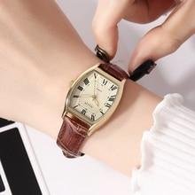 นาฬิกากันน้ำทุกวันสไตล์สุภาพสตรีเข็มขัดนาฬิกา สายหนังแท้นาฬิกาผู้หญิง Retro Casual
