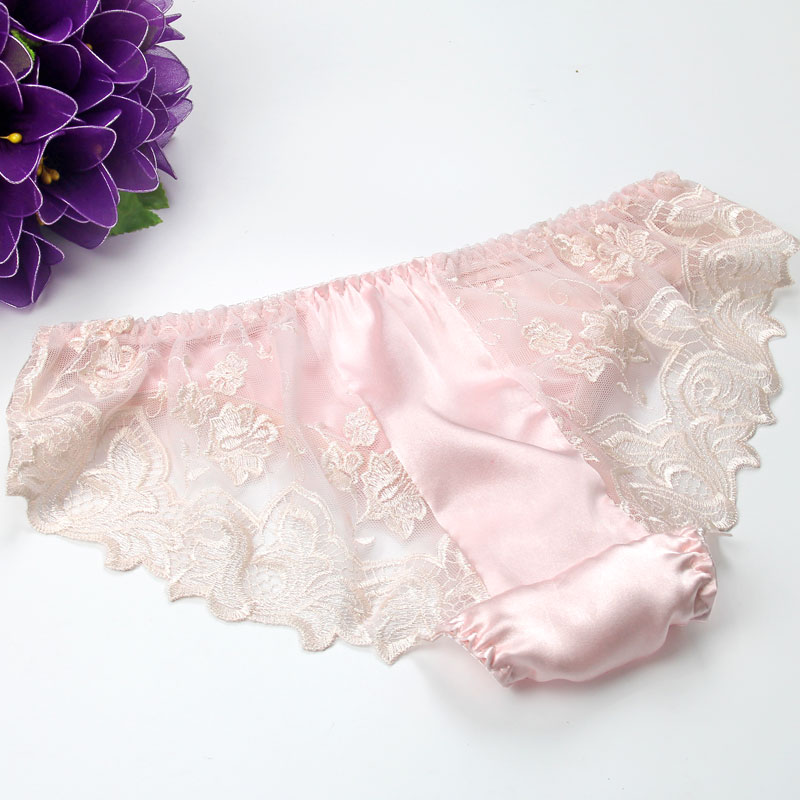 3pcs/lot Silk panties mulberry silk sexy low-waist briefs lace behind on both sides ...