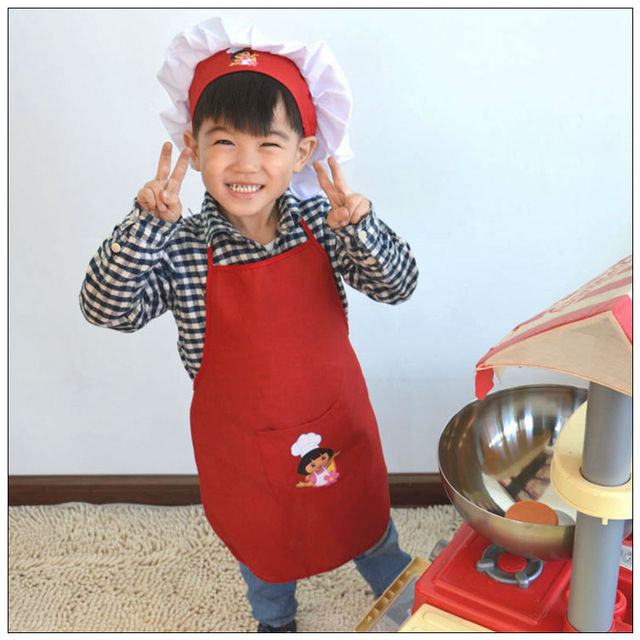 Kitchen Apron For Kids Red Table Free Shipping Children Cooking Cooker Hat Chef Cap 3 8 Year