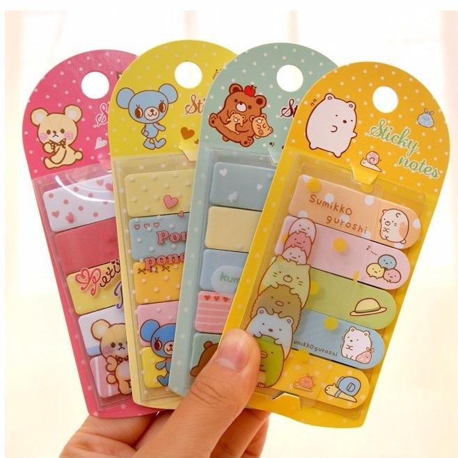 TIAMECH 1Pcs Cute Cartoon Animals Mini Memo Pad Sticky Notes School Supply Bookmark Post it Label H0785