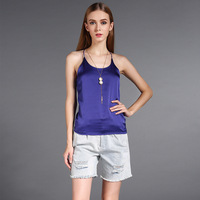 Women blouses summer 2016 sexy sleeveless tops brand new silk solid o-neck blusas shirt feminina fashion plus size casual shirts