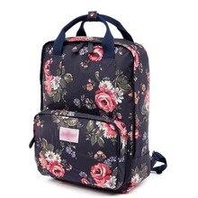 2016 Fashion women backpack canvas bag school travel large capacity Students floral print backpack computer shoulder