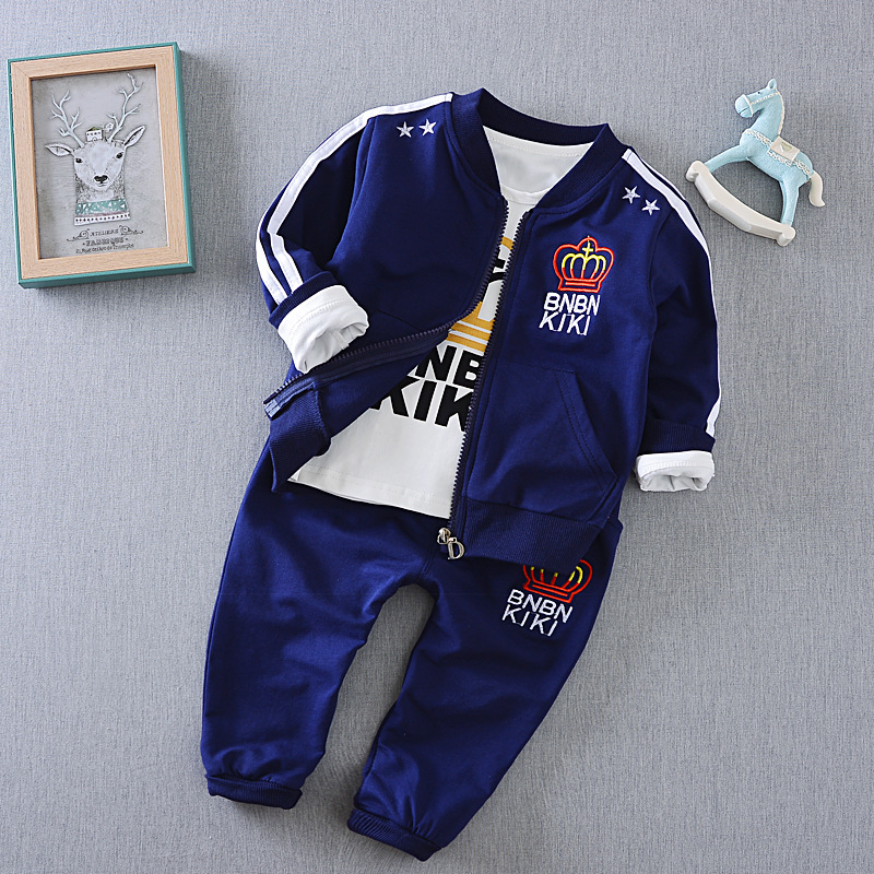Children's clothing sets new 2017 spring children Letter casual sport suits baby three-piece suit boys sets