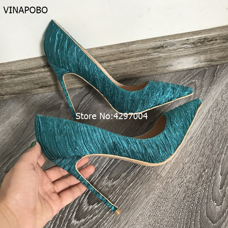 Vinapobo Luxurious Women Dark Green Silk Satin Dress Pumps Stiletto Heels Satin Fabric Banquet Party Shoes Pointed Toe Pumps-in Women's Pumps from Shoes    1