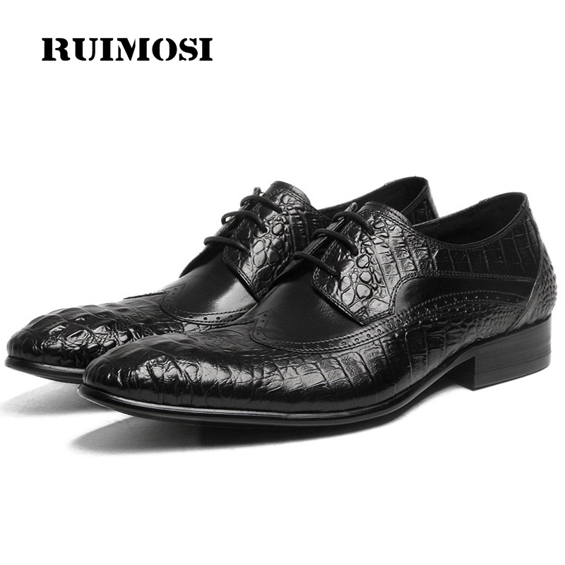 RUIMOSI British Designer Brand Crocodile Man Formal Dress Shoes Vintage Genuine Leather Brogue Oxfords Men's Wing Tip Flats LF67