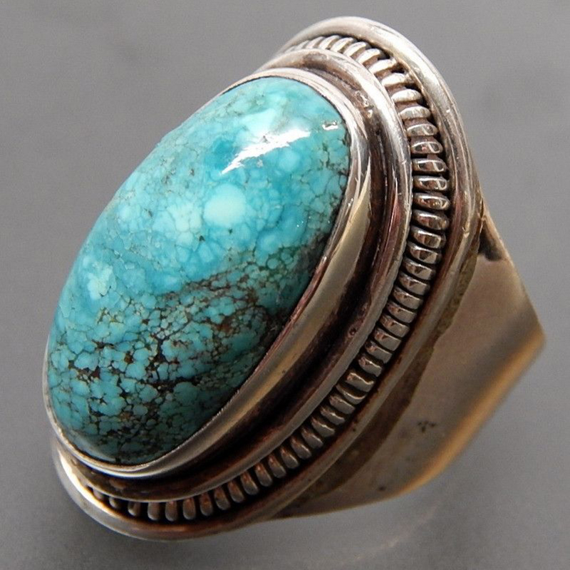 Personalized Jewelry Vintage Antique Silver Ring Retro Natural Turquoises Rings for Men