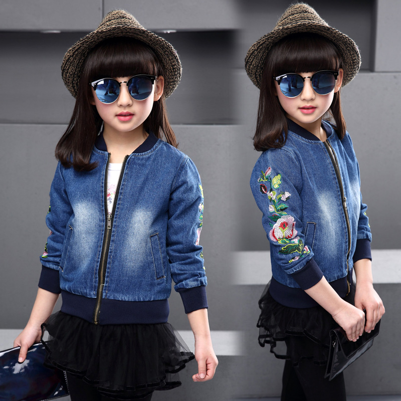 2-8T BaseBall Collar Girls Denim Jacket 2018 Spring Fashion Thin Long-sleeved Denim Tops Flowers Embroidered Jeans Girls Coats