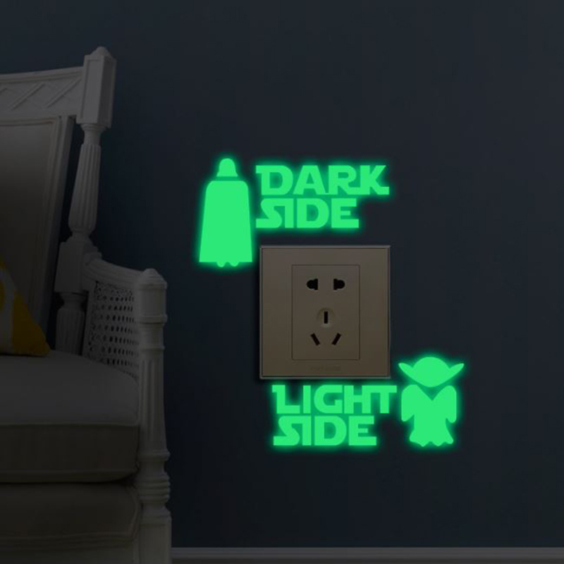 1 Set Hot Sale Glow In The Dark Toy Sticker Star Wars DARK LIGHT SIDE Luminous Switch Sticker Glow In The  Night Sticker