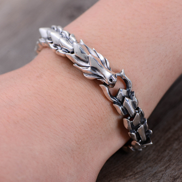 Genuine S925 Sterling Silver Jewelry Heavy Dragon Scale Bracelet For Men Vintage Punk Style