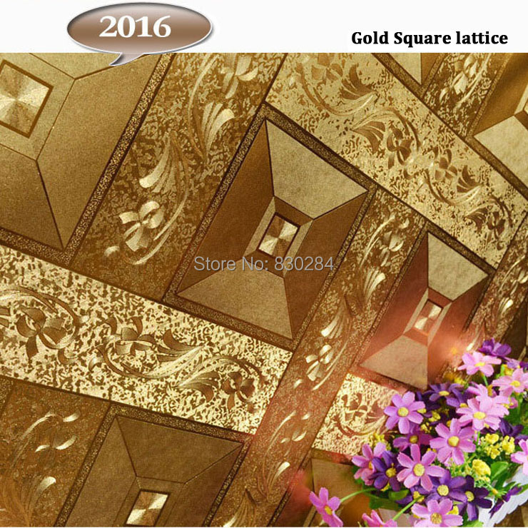 Modern Gold Foil Wallpapers Home Decor 3D Art Wall Decor 3D Vinyl Wall Paper for Walls Square Lattice Paper Roll,papel de parede