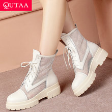 QUTAA 2019 Women Ankle Boots Cow Leather+pu Lace Up Spring/