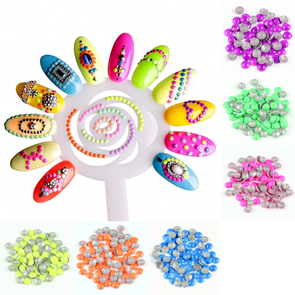 Blueness 600pcs/Pack Round Colors Gems Nail Accessoires 3D Glitter Nail Art Decorations Charms 6 Neon Charms Nail Tools 2*2