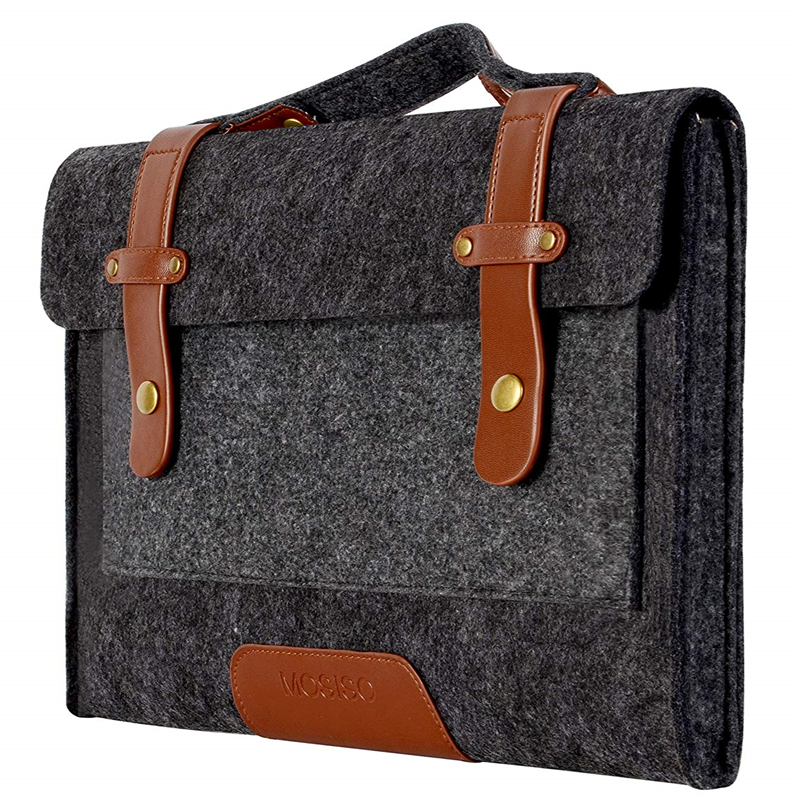 Image 2 - MOSISO 13.3 14 15 15.6 inch Felt Laptop Bag Case for Macbook Asus Dell HP Women Notebook Messenger Shoulder Handbag Briefcase Me-in Laptop Bags & Cases from Computer & Office