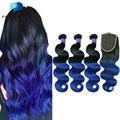 Predazzle Bottom Price 8a Ombre Blue 4Pcs Brazilian Virgin Hair Bundles With Closure Body Wave Human Hair Weave Lace Closure