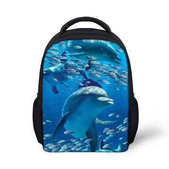 THIKIN Cartoon Dolphin Print Small Children Schoolbag Boys Girls Mini School Bags Student Kindergarten Backpack Baby Daily