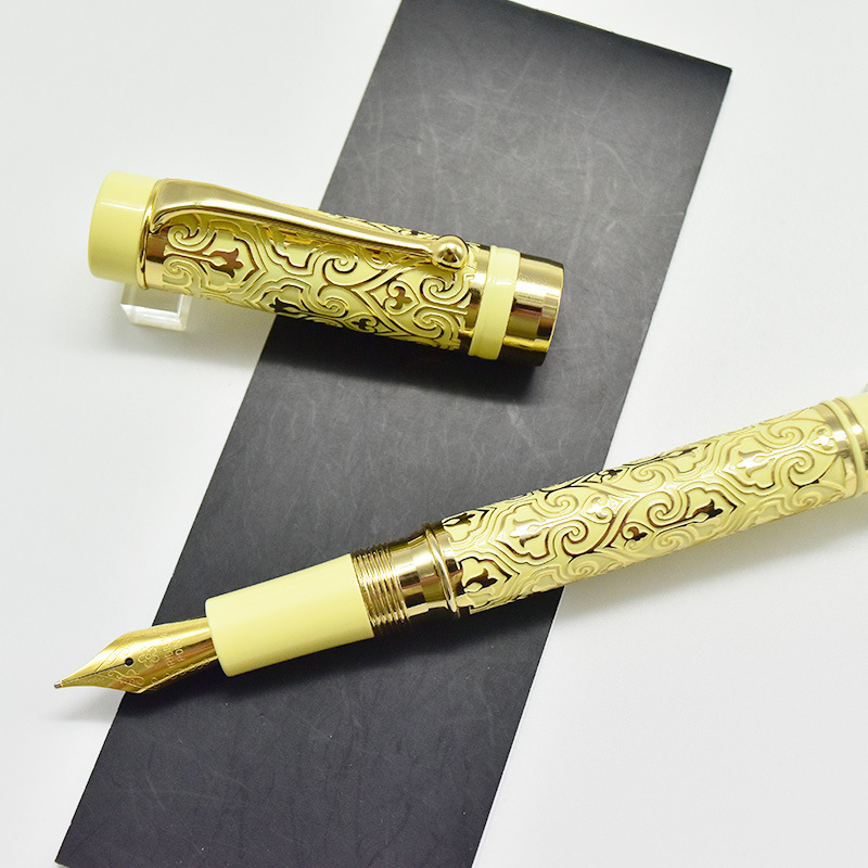 2018 Exquisite Ivory white and Gold trim Fountain Pen uncanny workmanship of nature luxury mb pen with gold nib uncanny stories