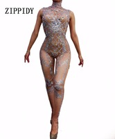 Fashion Sexy Sparkly Silver Crystals Jumpsuit Women Celebrate Nude Costume Female Singer Bodysuit Performance Dance Wear