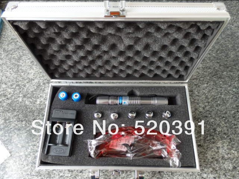 Flashlight blue laser pointers high power 10000mw 450nm burn match/pop balloon/Burning cigarettes+Glasses+changer+gif box