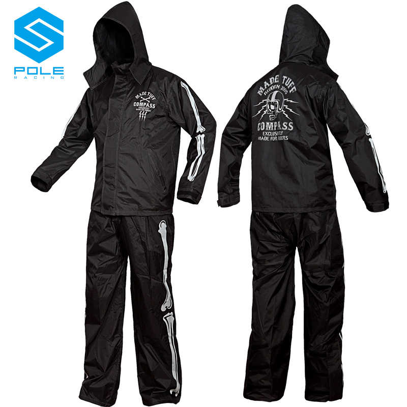 Skull Black Motorcycle Rain Suit Motorbike Rain Gear Pole Moto Raincoat Suit Outdoor Fishing Bike Motorsport Riding Rain Suit
