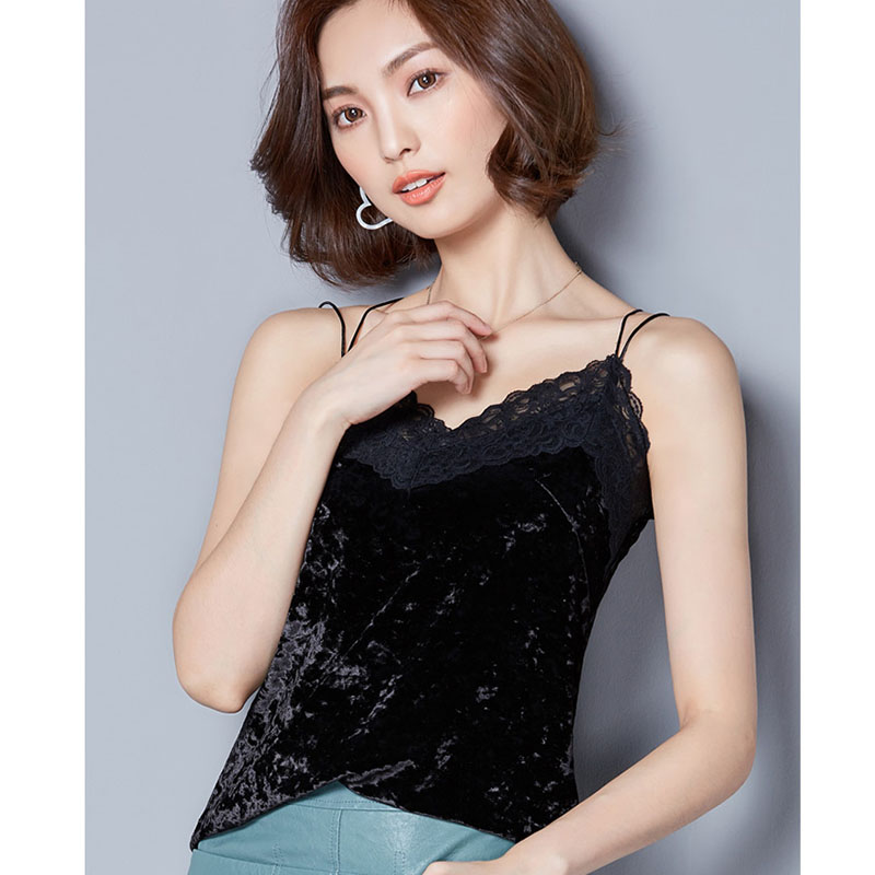 Crop Top Clothes black lace top Womens crop tops women 2018 Silk Women Shirt Camis Sleeveless Blusa Feminina Cropped