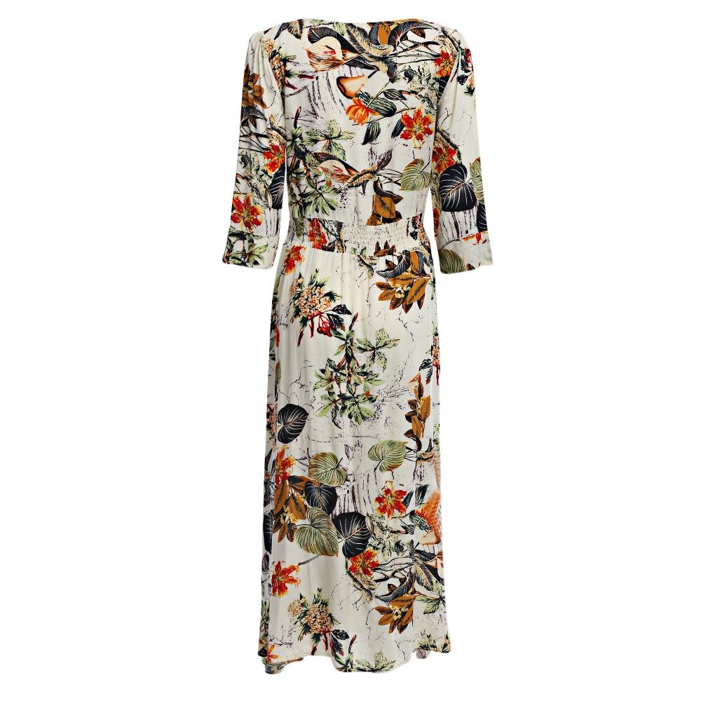 VESTLINDA Vintage Dress Allover Floral Print Elestic Waist Split Long Dress V Neck 34 Sleeve Robe Femme Women 2017 Summer Dress 6