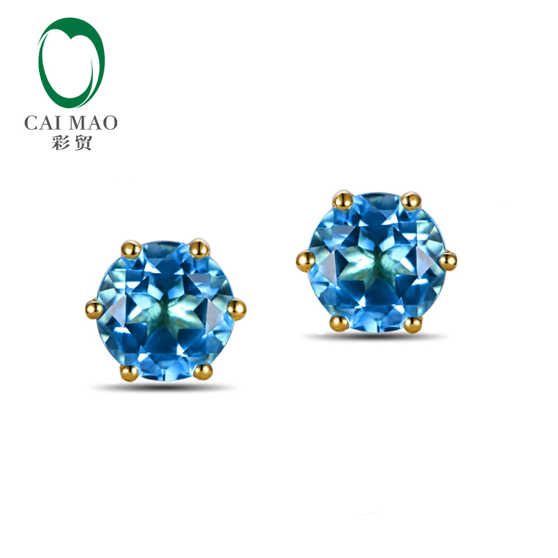 Caimao Jewelry 14KT Yellow Gold 3 3ct Round Cut Topaz Classic Earrings Studs for Women