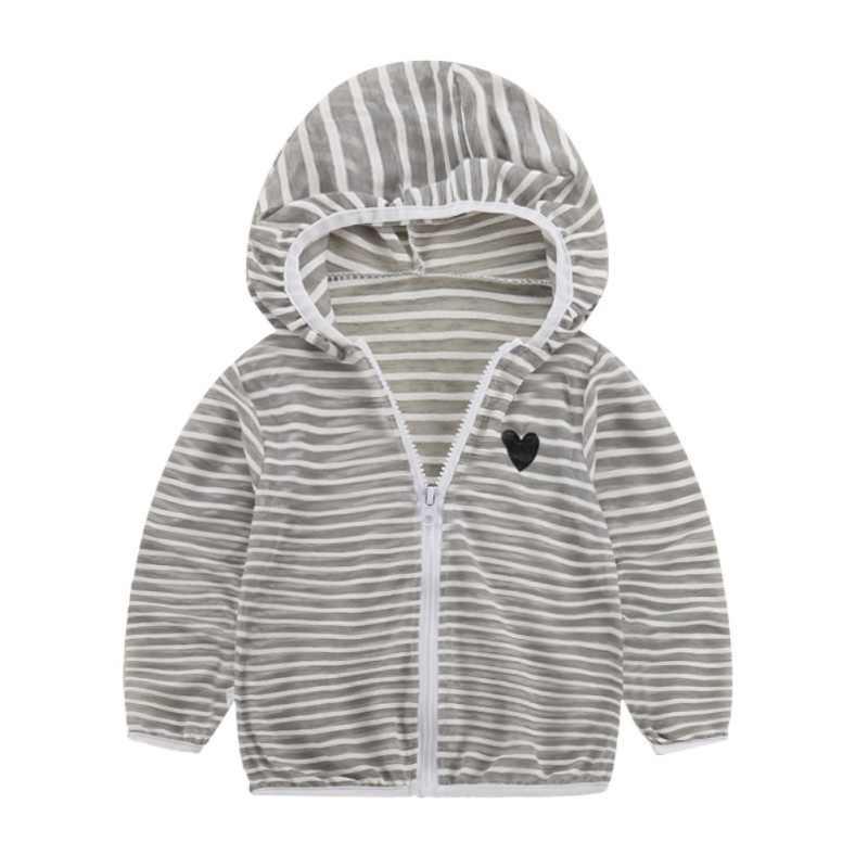 בגדי ילדים אביב קיץ עבור בני בנות פסים סלעית שמש הגנת בגדי ילדים תינוק מעיל רוכסן חולצות