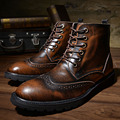 US 6-10 Top Leather Lace Up Brogue Wingtip Ankle Boots Mens Formal Dress Oxford Shoes