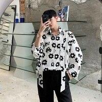 2019 Niche Flower Men Shirt Summer New Men's Korean Version Of The Male Student Ins Short Sleeve Camisa Masculina Streetwear