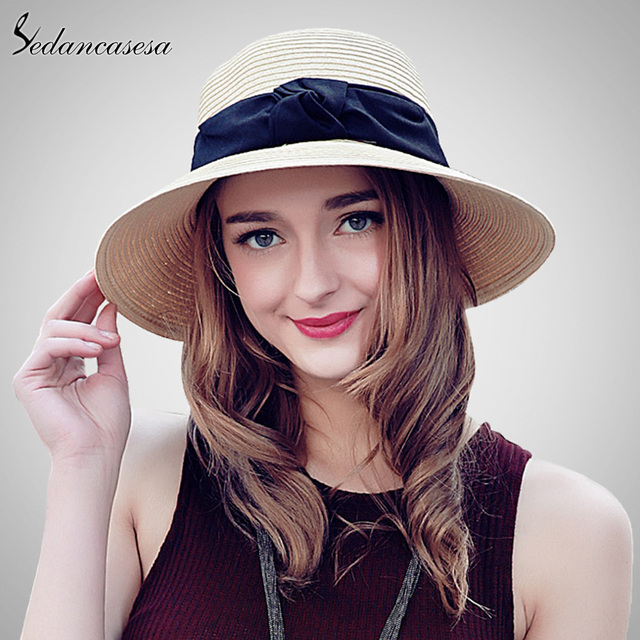 Sedancasesa fashion seaside sun visor hat female summer sun hats for women  wide brim straw sun 7c4f728df212
