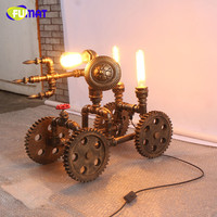 FUMAT Retro Antique Table Lamps Cafe Living Room Loft Industrial Gear Desk Lamp for Bar Decoration Water Pipe Wheel Table Lamp