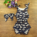 New chegou Crianças Romper correspondência headbands Nó set, meninas boutique floral outfits roupas de bebê da criança 2 pçs/set