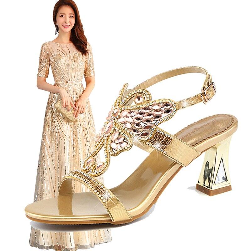 2ed0f9430b2 Acheter Femme élégante Robe De Soirée Chaussures Match D or Bling ...
