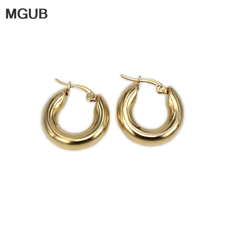 MGUB New classic 316L stainless steel popular earrings solid weight smooth 20-30mm earrings fine polished smooth LH327 Пирсинг ушей