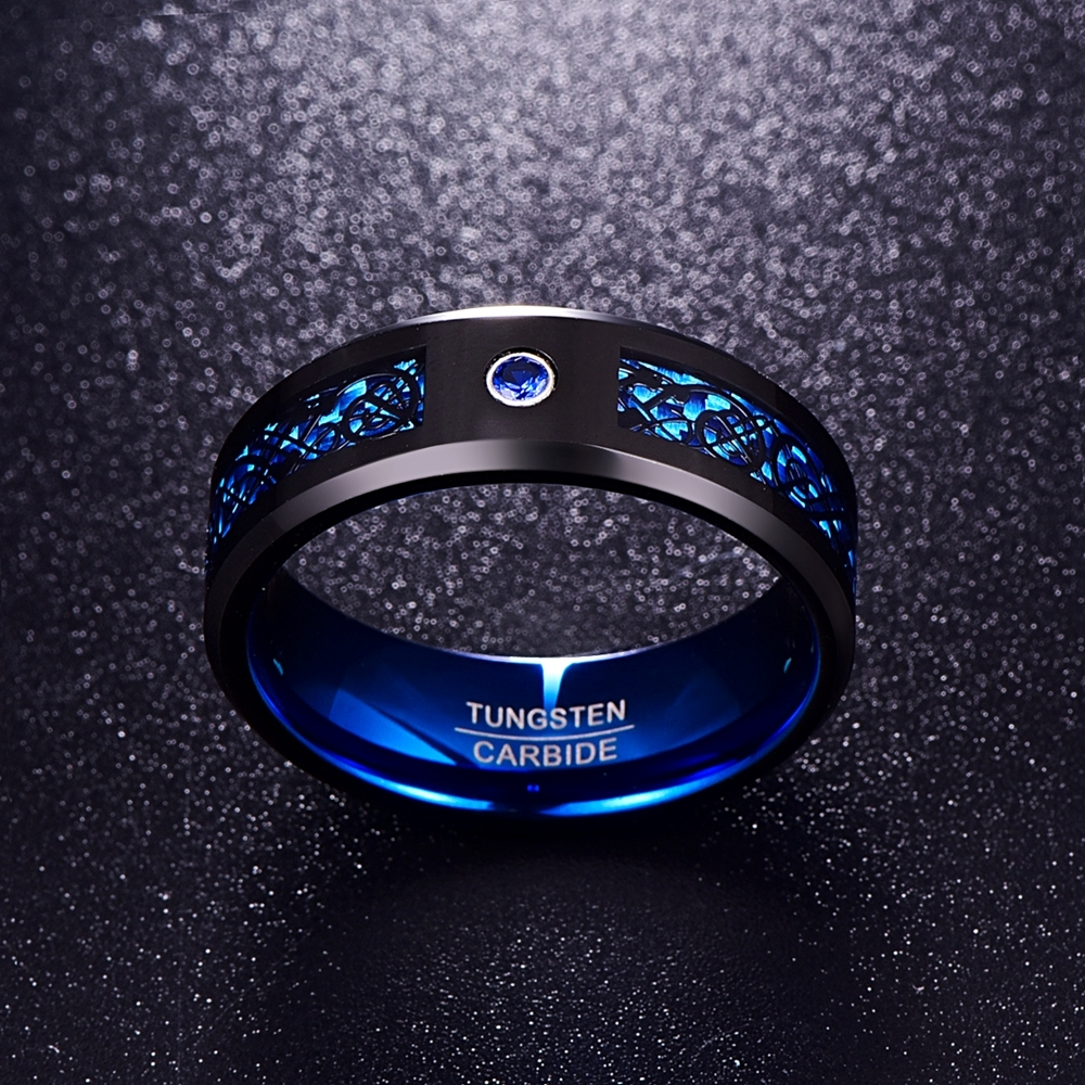 HTB1brGOicj B1NjSZFHq6yDWpXaw - Foreign Trade Carbon Fiber Scrub Blue Zircon Men Rings 100% Tungsten Carbide Anillos para hombres Black Dragon