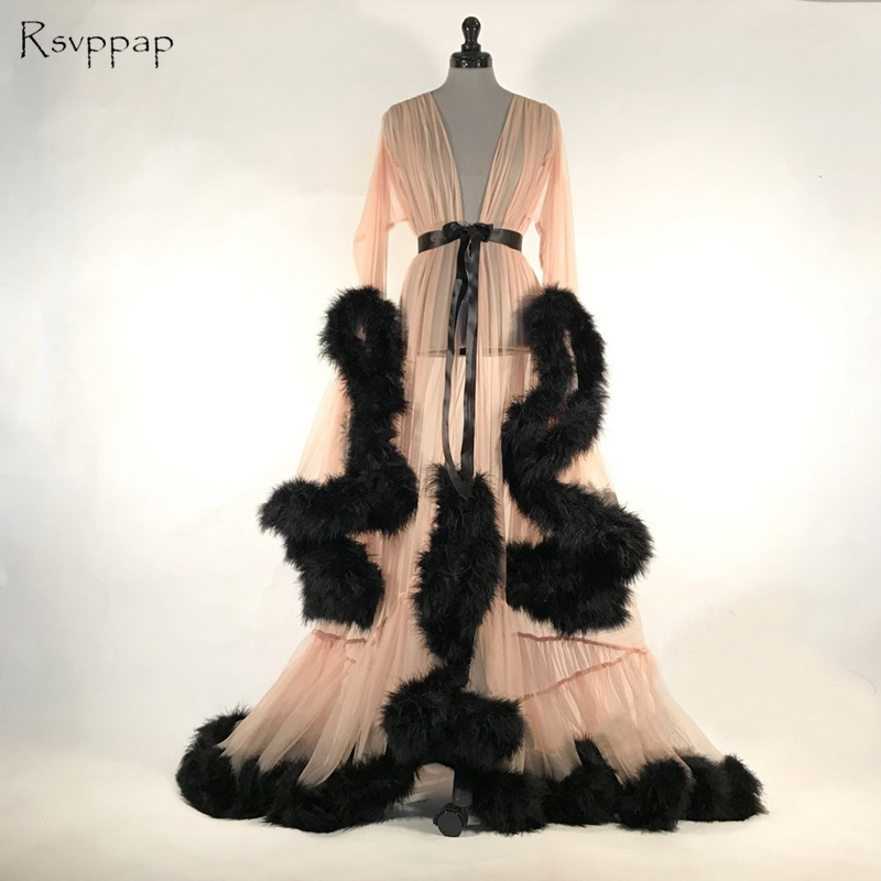 Long Elegant Evening Dress 2018 V neck Long Sleeve Black Feather Champagne African Women Special Occasion Dresses robe de soiree