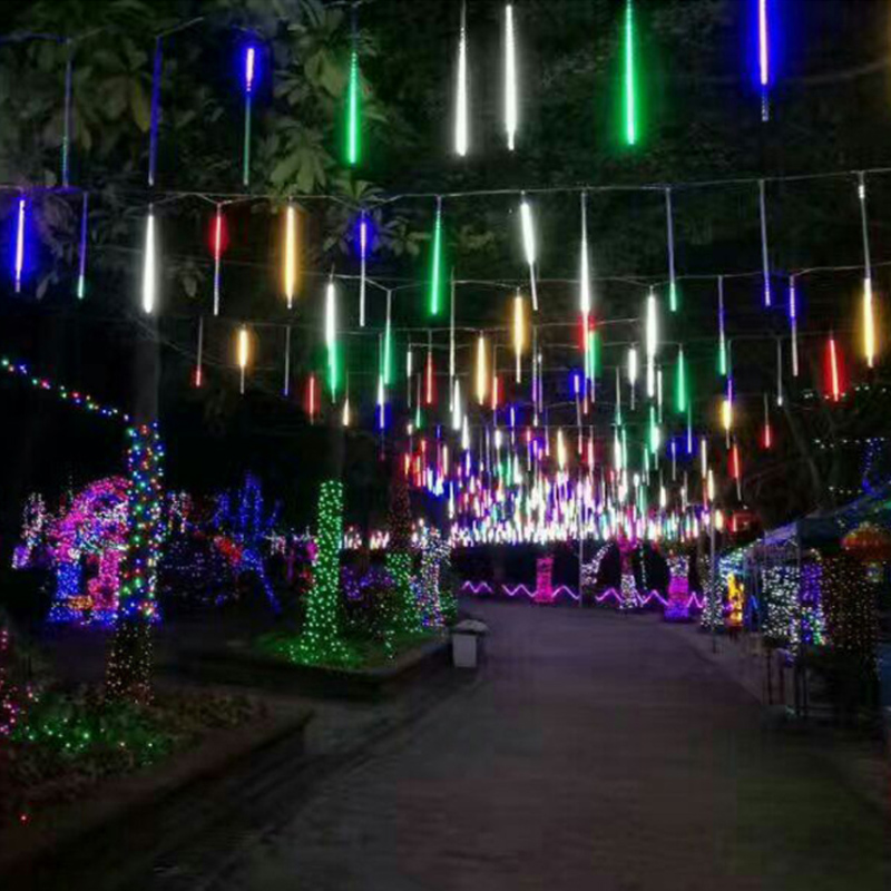 144LED Meteor Shower Rain Falling Lamp Icicle Tube String Fairy Light Xmas Party