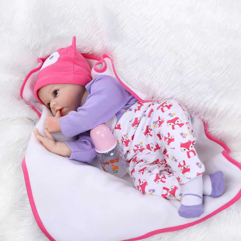 55CM Silicone reborn baby doll toys for girl, lifelike reborn babies play house toy birthday gift girl brinquedos bonecas