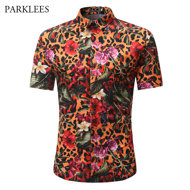 9d09733f Floral Hawaiian Shirt Men 2018 Summer Short Sleeve Mens Beach Shirts Casual  Slim Fit Chemise Homme Camiasa Masculina Male Shirts