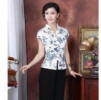 Promotion Summer Women Cotton Short Sleeve Shirt Chinese Vintage Blouse Flower Tops Plus Size M L