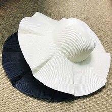 여자 솔리드 블랙 화이트 비치 태양 모자 와이드 브림 종이 밀짚 모자 UV UPF50 여행 접이식 브림 여름 UV 모자 켄터키 더비 모자
