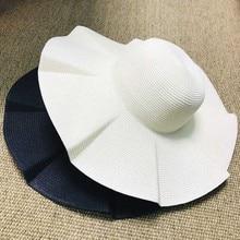 Women Solid Black white Beach Sun Hat Wide brim Paper Straw Hat UV UPF50 Travel Foldable Brim Summer UV Hat Kentucky derby hat