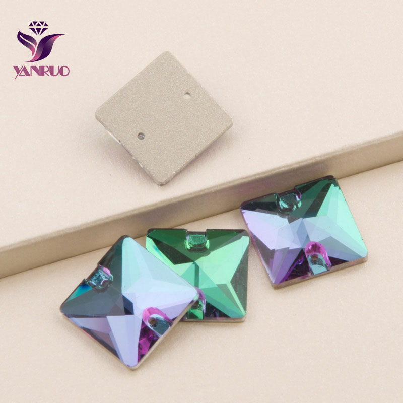 Emerald 3240 <font><b>Square</b></font> 16mm 22mm Flat Back Rhinestones Sewing Crystal Sew on Stone for Prom Dress Glass Beads